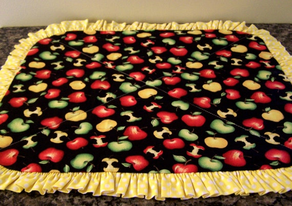 Dish Drainer Quilt Apples In Red Yellow And Green
