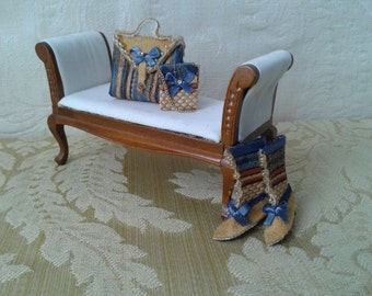 Bags and boots on miniature Dolls House