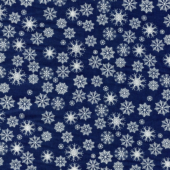 Dear Stella Snowflakes Cotton Fabric 255 Navy By The Yard
