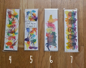 Original bookmarks hand painted with watercolours