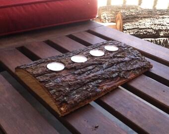Long cut Natural Log Candle Holder
