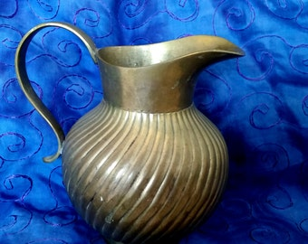 Lovely Vintage Brass Pitcher with Ridges