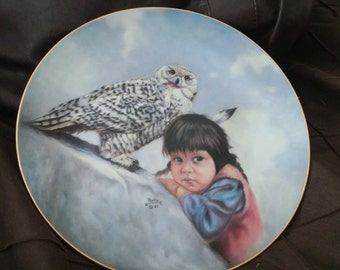 A Charming 1989 Watchful Eyes Decorative Plate by Gregory Perillo from Proud Young Spirits Series for Artaffects