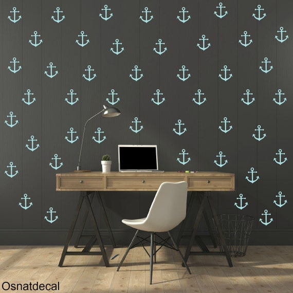 FREE SHIPPING Wall Decal Pastel Turquoise Anchor 113 Wall Decal. Nursery Wall Decal. Home Decor. Diy Decal.Kids Wall Decal. Vinyl Decal.