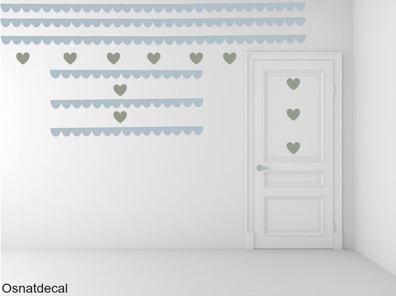 FREE SHIPPING Border Wall Decal & Hearts.Colors Pastel Blue And Kind Of Green Pastel. Nursery  Decal. Vinyl Decal. Decals. Housewares.
