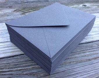 50 Slate Grey A7 5x7 Invitation or A1 (4Bar) RSVP Pointed Flap Envelopes - Slate Dark Grey Paper Source