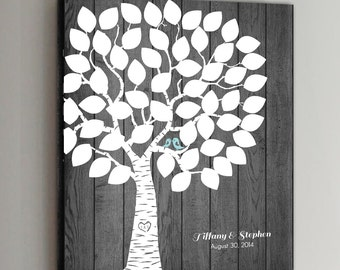 50 Guest CANVAS Wedding Guest Book Rustic Wood Wedding Tree Wedding Guestbook Alternative Guestbook Poster Wedding Guestbook Poster - Wood