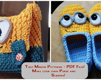 Crochet Patterns - Minion Slippers and Purse