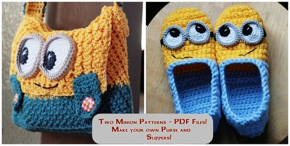 Free Crochet Patterns For Minion Slippers : Crochet PATTERNS Slippers and Purse Instant Download