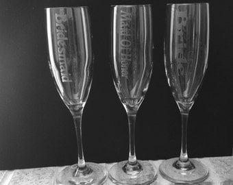 Bridal Party Champagne Glasses, Bridesmaids champagne glasses, Wedding champagne glasses, Etched champagne glasses, Custom champagne glasses
