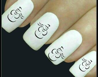 Christmas Nail Decal 20 Snowman Nail Art Water Slide Decals Fingernail Decal Nail Tattoos Stocking Stuffers