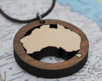 Wooden Australia with Tasmania Necklace Aussie Down Under Jewelry Local Neighborhood Jewelry Hometown Long Distance Going Away Gift