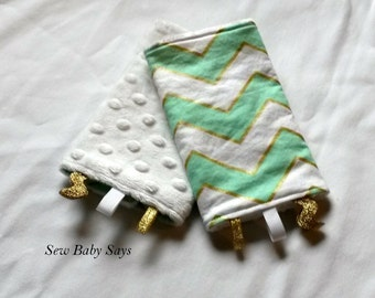 Baby Carrier Teething Pads-Reversible Strap Cover-Chic Chevron in Mist/White Minky Drool Pads