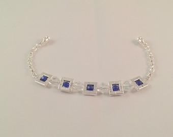 Blue & Silver Square Chain Bracelet