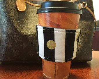 Black & White Reusable Coffee Sleeve with Gold Polka Dots