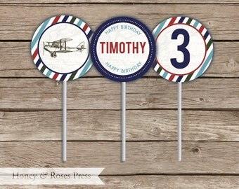Vintage Plane Birthday Cupcake Toppers  .  Plane Cupcake Toppers .  Printable Party Goods