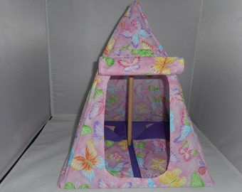 Butterflys Galore Fashion Doll Tent (light pink) cotton fabric. Two sleeping bags with pillows. Folds flat for storage.