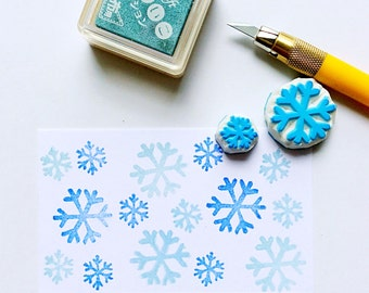 Snowflake stamp. Rubber stamp. Hand carved stamp. Unmounted.