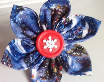 Blue Christmas Dog and Cat Collar Flower