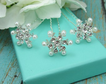 Snowflake Wedding Hair Pin, Set of 6, bridal hair accessories, rhinestone rhinestone hairpin, bridal hair pearl, winter wedding 209752463