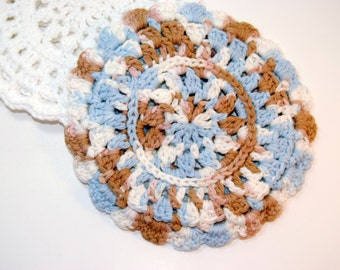 Brown and Blue Crocheted Cotton Trivet