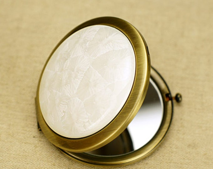Deluxe Porcelain Compact Mirror - Portable Floral Crystal Glaze Decorative Tavel Mirror ,White,Pink,Mint,Sea Blue