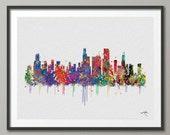 Chicago Skyline Watercolor illustrations Art Print Wall Wedding Gift Poster Giclee Wall Decor Art Home Decor Wall Hanging No 324