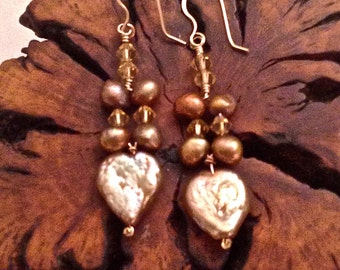 Heart Shaped Freshwater Pearl Earrings with Mabe Pearls and Crystal Bicone Beads