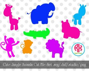 Cute Jungle Animals Cut Files Set .PNG, .DXF, .SVG