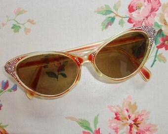 Rare 50s Cat Eye Sunglasses with Rhinestones