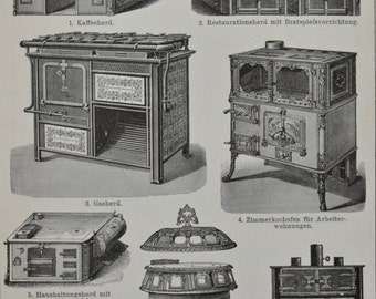 Old stoves illustration. Old book plate, 1901.   114 years lithograph. 9'6 x 6'2 inches.