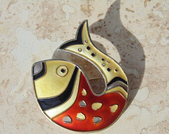 David Andersen ~ Iconic Sterling and Enamel Fish Brooch c.1950's