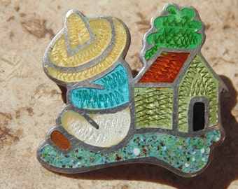 JF ~ Fuentes Sterling and Enamel Siesta Brooch