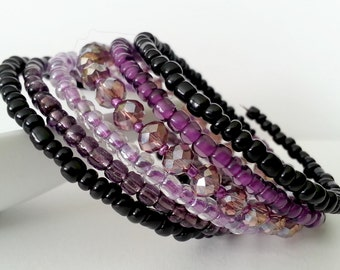Memory wire bracelet. Purple Swarovski crystals