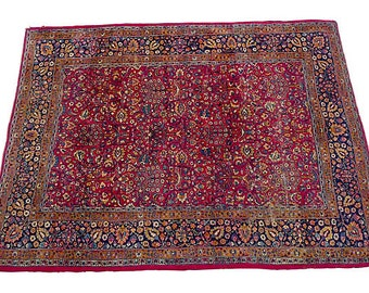 "SALE! Org 1895.00 OFF Antique Persian rug with floral design in rust, gold, and navy. Circa 1930. 139""L X104"" W"