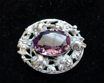 Victorian Style Vintage  Silver and Purple Glass Flower Design Brooch