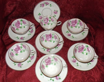 RARE Kirk German China 7 Cups and Saucers plus 4 cups  Hand Painted Pattern KIR 4