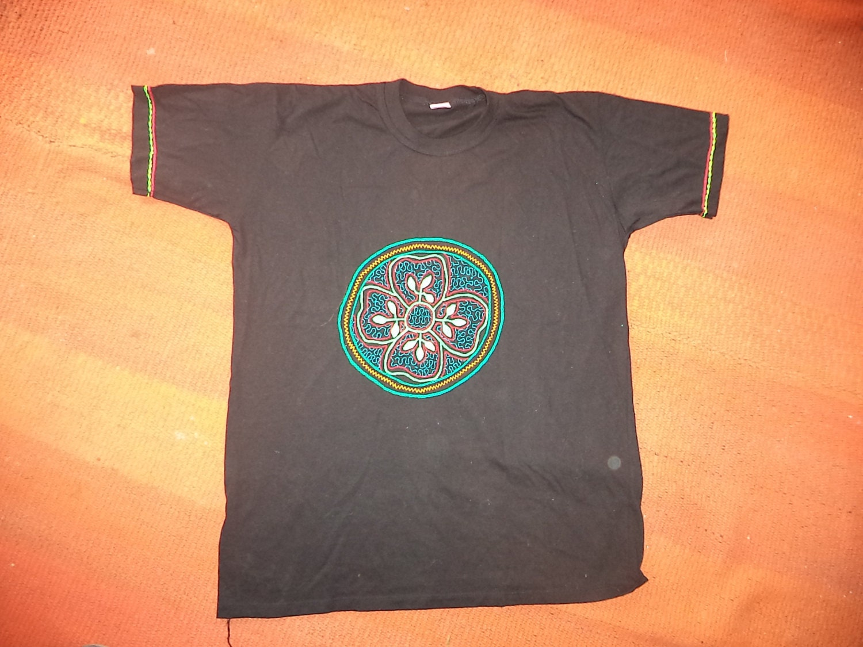 Shipibo Embroidered Ayahuasca Shirt with ayahuasca by Igualmente