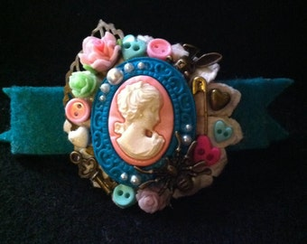Pink Cameo Hair Barrette