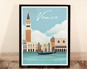 Venice. Italy. Vintage poster. Wall decor art. Illustration. Digital print. City. Travel.