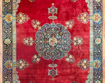 "Antique Esfahan (Isfahan) Knotted Persian Rug from Iran 9' 8""  x 14' 6"""