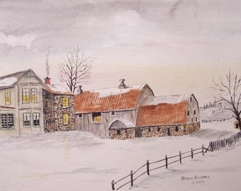 watercolor painting,FARM painting,barn painting,original, winter landscape painting, painting of farm in winter, art sale, stone farm house