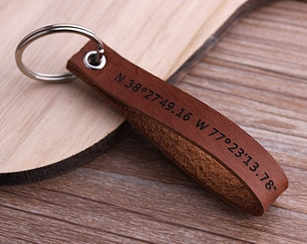 Latitude Longitude Keychain, GPS Leather Keychain, Personalized Leather Keyring