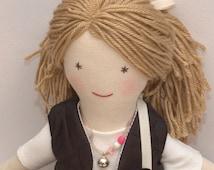 Handmade Przytullale rag doll, cloth doll, soft doll, yarn hair