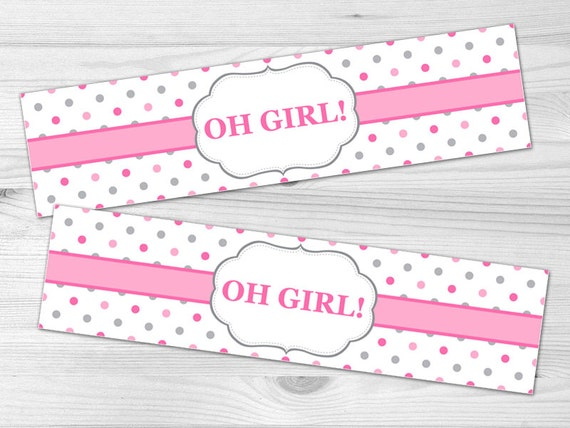 water bottle label diy printable baby shower label baby girl pink