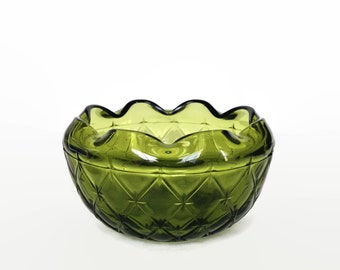 Vintage green glass bowl Indiana Glass duette pattern
