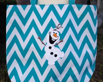 Disney's Frozen Olaf Inspired Chevron Beach Bag/Tote with zippered closure - Personalized 11 Different colors