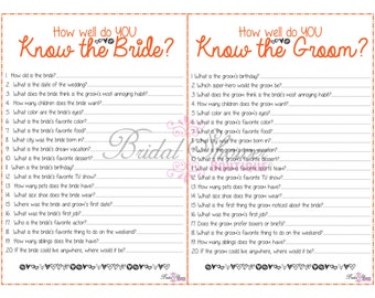 How Well Do You Know the Bride and Groom COMBO Bridal Shower Game ORANGE -Fun, Detailed, & Cute!