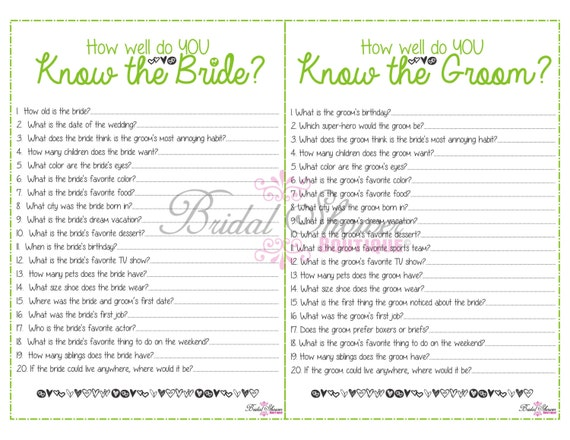 How Well Do You Know The Bride And Groom Combo Bridal Shower