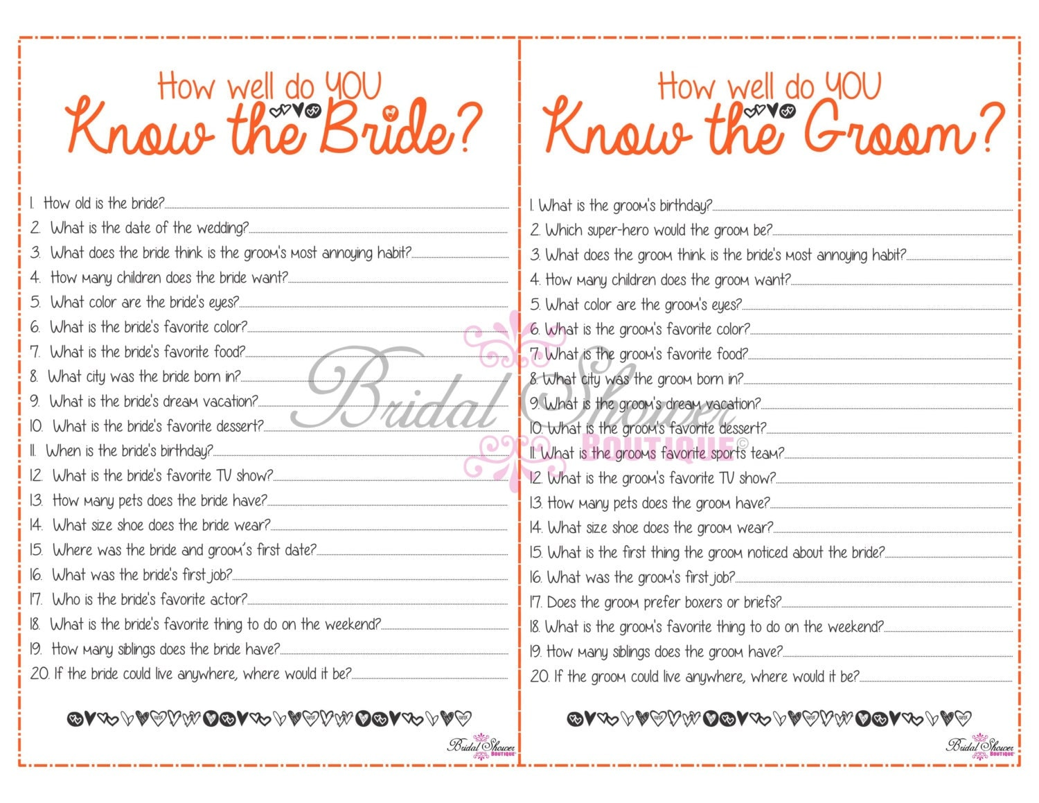 How Well Do You Know The Bride: How Well Do You Know The Bride And Groom COMBO Bridal Shower